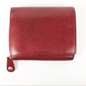 Coach Wine Fold Over Wallet with ID Holder